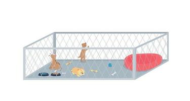 Puppy litter flat color vector detailed character