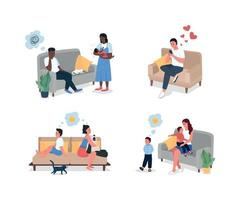 Family relationship problem flat color vector detailed character set