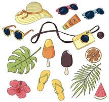 Vector set of summer vacation items. Tropical leaves, photo camera, ice cream, sunglasses, apparel and care. Hand drawn elements of sea recreation