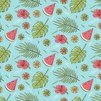 Seamless pattern of summer vibes items. Repeated ornament of tropical leaves, watermelon and citrus fruits. Vector colorful hand drawn illustration for wrapping paper, wallpaper, textile and fabric