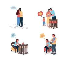 Young family problems flat color vector detailed character set