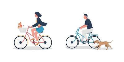 Hombre y mujer caucásicos en bicicleta con perros conjunto de caracteres detallados de vector de color plano