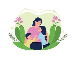 Happy mother with children flat concept vector illustration