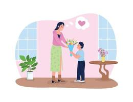 Mothers day greeting 2D vector web banner, poster