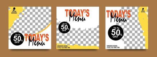 Social media banner for food business. Food social media template for restaurant business. Modern social template post banner. Food discount post template. vector