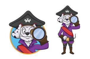 dalmatian pirate cartoon character vector