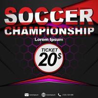 Social media post template for soccer championship. Soccer championship poster. vector