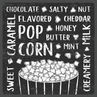 Flavored popcorn typography chalkboard style poster signage vector