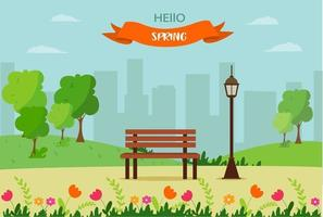 Hello spring, a landscape with a bench, houses, fields and nature. Cute vector illustration