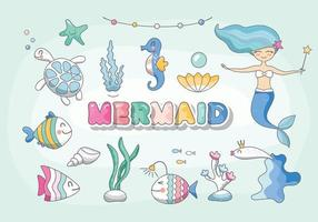 Cute mermaid, sea characters and plants set. Cartoon marine animals birthday collection for girls. Vector