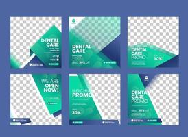 Dentist and dental care social media post template vector