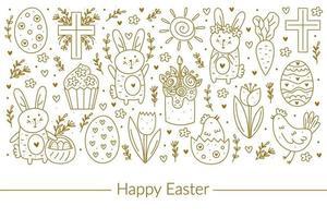 Happy Easter doodle line art design. Golden design elements. Rabbit, bunny, christian cross, cake, cupcake, chicken, egg, hen, flower, carrot, sun. Isolated on white background.