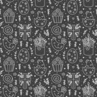 Happy Easter holiday doodle monochrome line art. Chalkboard drawings. Cake, cupcake christian cross, chicken, egg, hen, flower. Seamless pattern, texture. Packaging design. Isolated on dark background vector