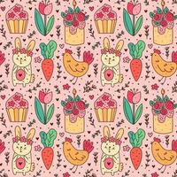 Happy Easter holiday doodle line art. Rabbit, bunny, cupcake, cake, chicken, hen, flower, carrot. Seamless pattern, texture, background. Packaging design. vector
