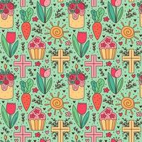 Happy Easter holiday doodle seamless pattern. Cupcake, cake, tulip flower, christian cross, sun, carrot. Packaging paper design. vector