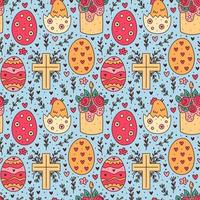 Happy Easter holiday doodle seamless pattern. Cake, chicken in egg, christian cross. Packaging paper design. vector