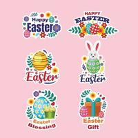 Cut Easter Sticker Set vector