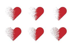 Set of hearts with a dispersion effect. vector