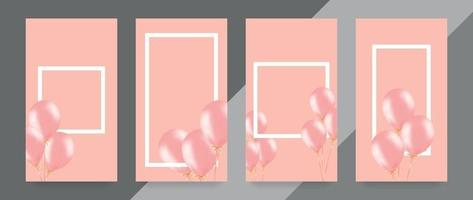 Festive banner with pink helium balloons. Frame composition with space for your text. Useful for announcement , poster, flyer, greeting card vector