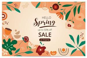Hello spring sale banner with blossom bloom. Sale banner. Vector illustration. Hand drawn. Organic flower design.