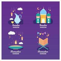 Ramadan kareem badge and label collection. Hand drawn. Vector illustration.