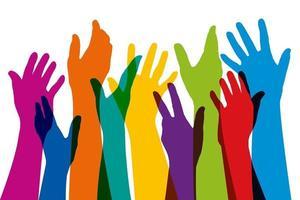 manos levantadas de diferentes colores símbolo de la unidad vector