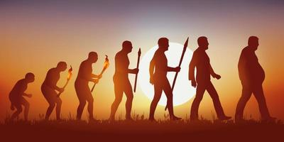 The Evolution of Mankind Results in an Obese Man. vector