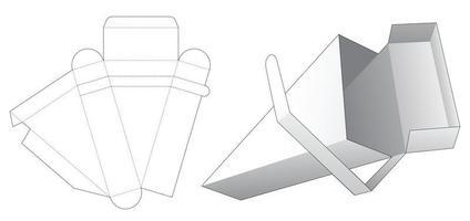 Zipping top flip triangular packaging box die cut template vector