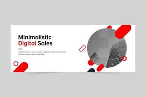 Minimalistic geometric professional digital marketing agency banner template vector