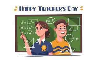 festividad del día del maestro con dos maestros felices. vector