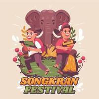 dos niños felices celebrando la festividad de songkran vector