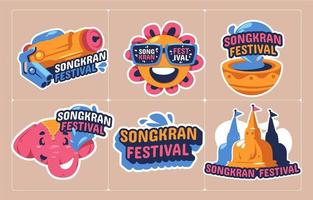 Fun Songkran Festival Sticker Collection vector
