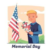 Memorial Day with Kid Doing Moment of Silence vector