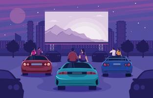 Couple Enjoying Watching Drive In Cinema vector