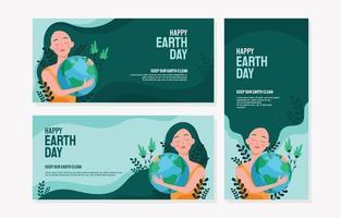 plantilla de banner de feliz día de la madre tierra vector