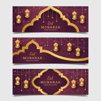 Eid Mubarak Concept Banner with Golden Lantern vector