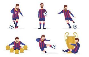 colección de personajes de jugadores de fútbol vector