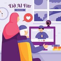 Celebrating Eid Al Fitr Online vector