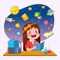 Cute Girl Studying Concept vector