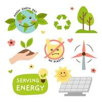 Hand Drawn Cute Earth Day Sticker Set vector