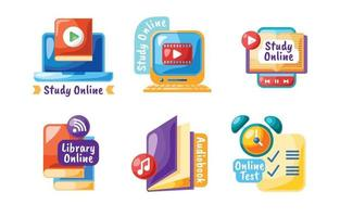 Online Education Label Collection vector
