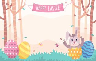 Easter background with eggs and rabbits vector