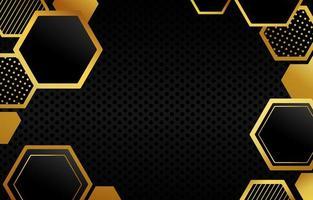 polígono fondo de oro negro vector