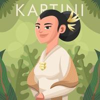 Beautiful Kartini in Nature Green vector