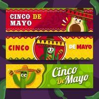 cactus divertido para banner de cinco de mayo vector