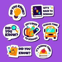 Cute and Fun School Sticker Pack vector