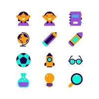 Flat Children School Icon vector