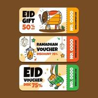 Handdrawn Eid Gift Voucher vector