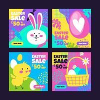 Cute Easter Social Media Post Template vector