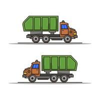 Camión de basura sobre fondo blanco. vector